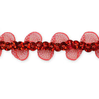 Coralia Ruffle Sequin Trim Red