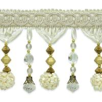 Preshea Decorative Beaded Fringe Trim White
