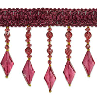 Rosalie Diamond Bead Fringe Trim Burgundy