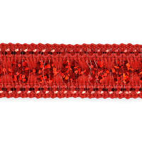 Viola Single Row Starlight Sequin Trim with Sequin Edging Red