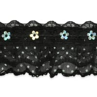 "Aria 1 1/4"" Sequin Ruffle Lace Trim Black"
