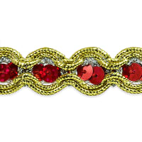 River Sequin and Cord Trim Red