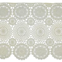 "Carla 12"" Classic Medallion and Open Lattice Lace Trim Off White"