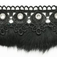 Beline Lace Feather Fringe Trim Black