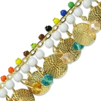 Phaedra Circle Beaded Chain Trim Multi Colors
