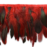 Fionna Feather Fringe Trim Red