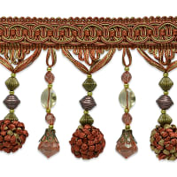 Preshea Decorative Beaded Fringe Trim Cinnamon Multi
