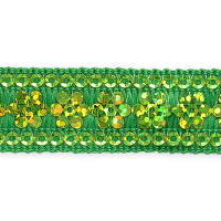 Viola Single Row Starlight Sequin Trim with Sequin Edging Green