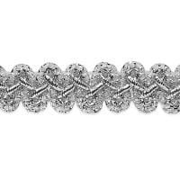 "Emily 1/2"" Metallic Braid Trim Metallic Silver"