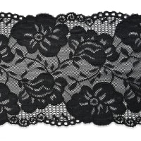 "Annie 6"" Stretchable Polyester Chantilly Lace Trim Black"