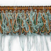 Loop Ribbon And Eyelash Fringe Trim Seafoam Multi