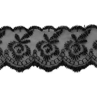 Fabiana Fancy Flower Embroidered Lace Trim Black