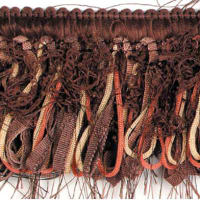 Loop Ribbon And Eyelash Fringe Trim Chocolate Multi