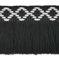 "Sebastian 1 3/8"" Diamond Head Fringe Trim Black/ White"