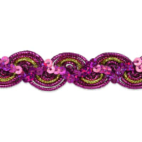 April Sequin Metallic Braid Trim Fuchsia