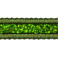 Single Row Starlight Hologram Sequin with Sparkle Edge Trim Lime