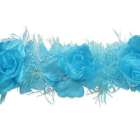 Macey Stretch Flower Trim Bright Turquoise