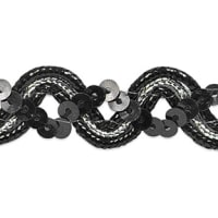 Karmen Sequin Metallic Braid Trim Black/Silver