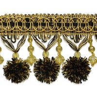 Zoe Ball & Bead Tassel Fringe Black/ Gold
