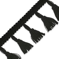 "Agnes Party Tassel Fringe Trim 1 3/4"" Black"