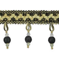 Martha Crochet Bead Trim Black Multi