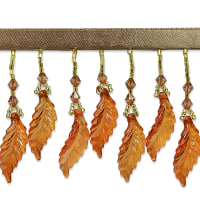 Acrylic Leaf Beaded Fringe Trim Amber (Precut, 10 Yards)