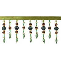 Bauble Beaded Fringe Trim Green (Precut, 10 Yards)
