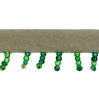 Faux Suede Beaded Fringe Trim Green (Precut, 10 Yards)
