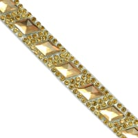 "Bianca Rustic Gems Rhinestone Iron-on Trim 5/8"" Gold (Precut, 10 Yards)"