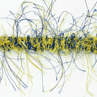 Pippa Eyelash Fringe Trim Yellow/ Blue (Precut, 10 Yards)