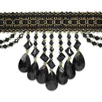 Isabella Scalloped Bead Fringe Trim Black Multi (Precut, 10 Yards)