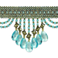 Isabella Scalloped Bead Fringe Trim Aqua Multi (Precut, 10 Yards)