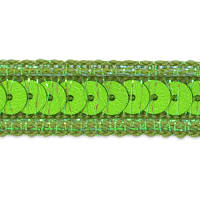 Zali Single Row Sequin with Sparkle Edge Trim Lime (Precut, 20 Yards)
