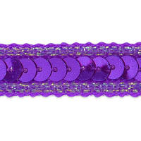 Zali Single Row Sequin with Sparkle Edge Trim Purple (Precut, 20 Yards)