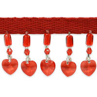 Beaded Heart Fringe Trim Red (Precut, 10 Yards)