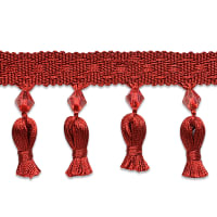 Tied Tassel Trim with Beads Cranberry (Precut, 10 Yards)