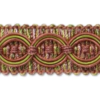 Collette Woven Braid Circle Trim Mauve/ Green (Precut, 20 Yards)