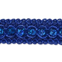"7/8"" Trish Sequin Metallic Braid Trim Royal Blue (Precut, 20 Yards)"