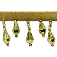 Joanne Beaded Teardrop Fringe Trim Gold (Precut, 10 Yards)