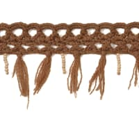 Crochet Beaded Fringe Trim Brown (Precut, 10 Yards)