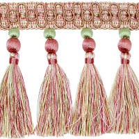 Jenna Double Ball Tassel Trim Mauve/ Green (Precut, 10 Yards)