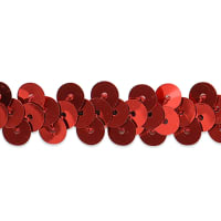 "1 Row 3/8"" Metallic Stretch Sequin Trim Red (Precut, 20 Yards)"