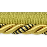 "Hilda 3/8"" Twisted Lip Cord Trim Gold/Black (Precut, 20 Yards)"