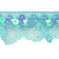 Iridescent Sequin & Scallop Ruffle Stretch Trim Turquoise (Precut, 20 Yards)
