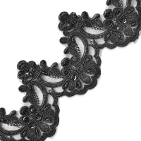 Noreen Embr. Lace Trim w/Pearls & Sequin Black (Precut, 14 Yards)