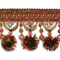 Zoe Ball & Bead Tassel Fringe Cranberry/ Sage (Precut, 20 Yards)
