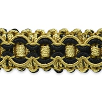 Gabrielle Decorative Braid Trim Black/ Gold (Precut, 20 Yards)