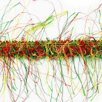 Pippa Eyelash Fringe Trim Green/ Red/ Gold (Precut, 10 Yards)