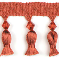 Tied Tassel Trim with Beads Cinnamon (Precut, 10 Yards)