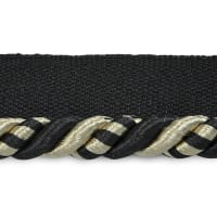 "Preshea 3/8"" Twisted Lip Cord Trim Black Multi (Precut, 20 Yards)"